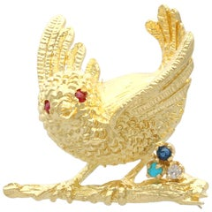 English Ruby Sapphire Turquoise Diamond Yellow Gold Bird Brooch 1971