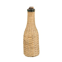 English Rustic Straw Covered Bottle with its Cork from the 19th Century