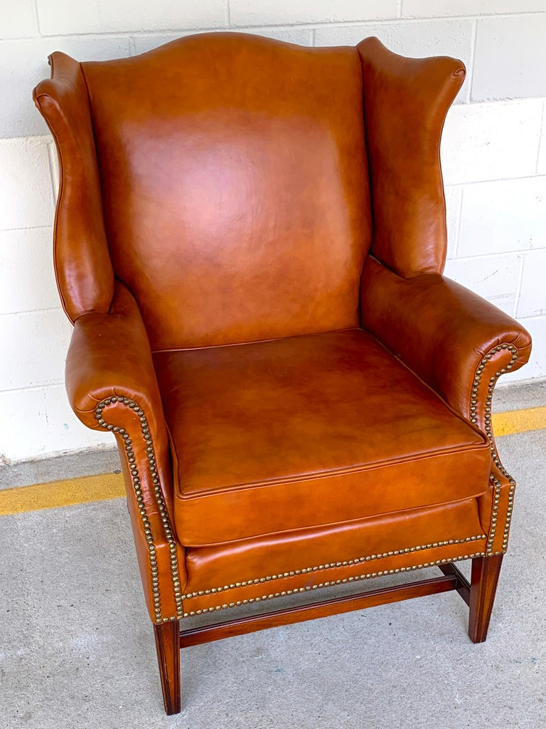 Cool English Saddle Leather Mahogany Wingback Chair Short Links Chair Design For Home Short Linksinfo