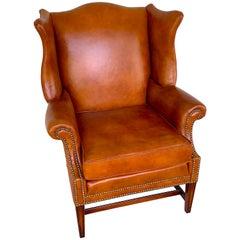 English Saddle Leather Mahogany Wingback Chair