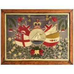 English Sailor's Woolwork or Woolie of a Sailing Ship 'Crimean War Era'