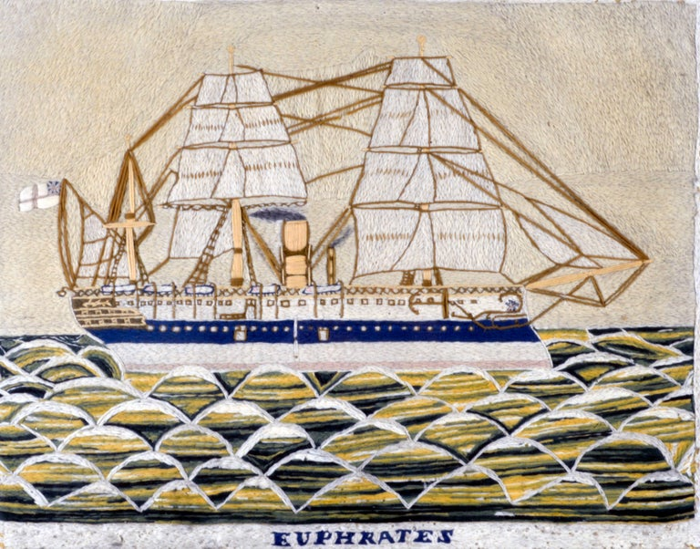 English Sailor's Woolwork Woolie Picture of HMS Euphrates For Sale 2