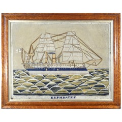 English Sailor's Woolwork Woolie Picture of HMS Euphrates