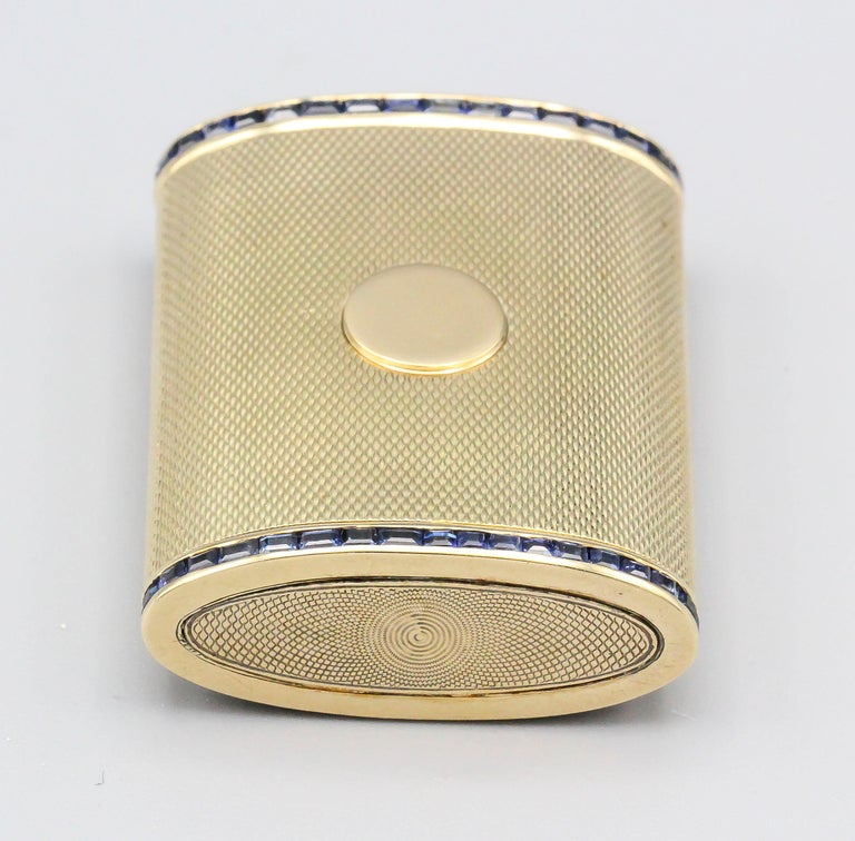 Square Cut English Sapphire 18 Karat Gold Sliding Midcentury Pillbox For Sale