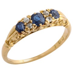 English Sapphire and Diamond Ring, circa 1890