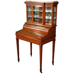 English Satinwood Adams Inlaid Secretary Desk Vitrine Top with Inkwells