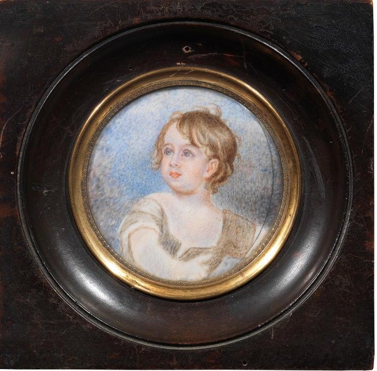Georgian English School a Miniature Portrait of a Young Boy For Sale