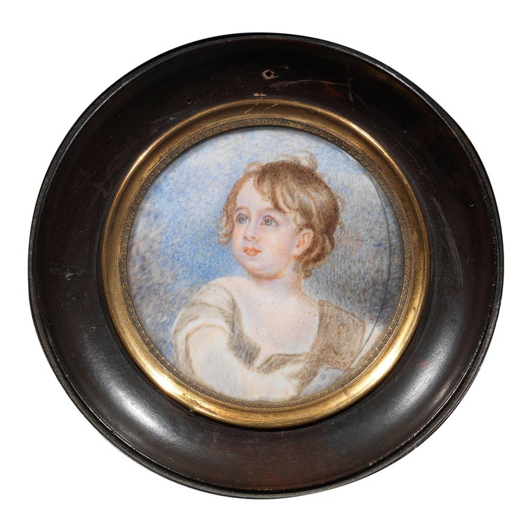 English School a Miniature Portrait of a Young Boy For Sale