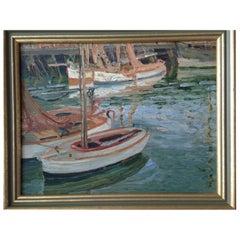 English School Oil on Board Impressionist Harbour Scene, Circa 1930