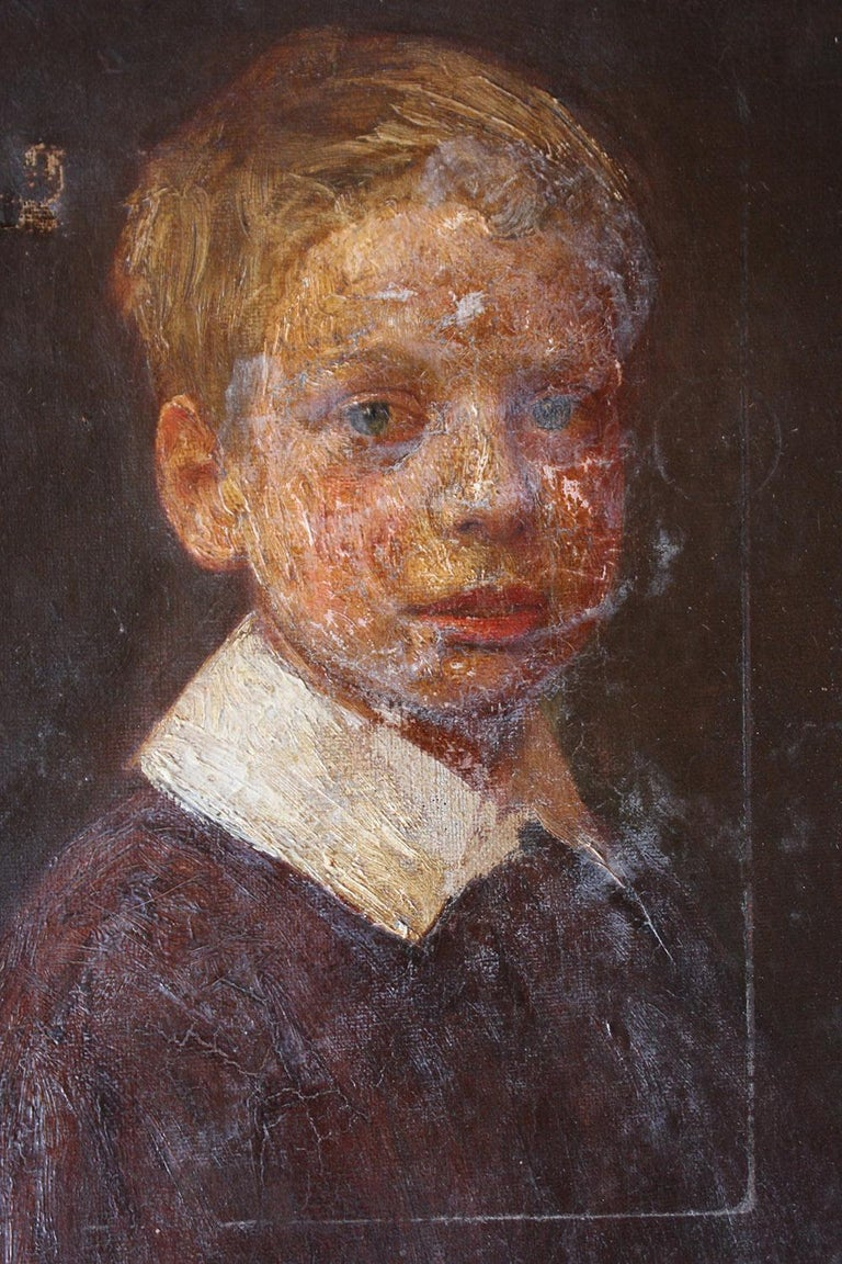 English School Oil on Canvas Portrait of Ronald C. Pilsbury by Harry C. Pilsbury For Sale 6