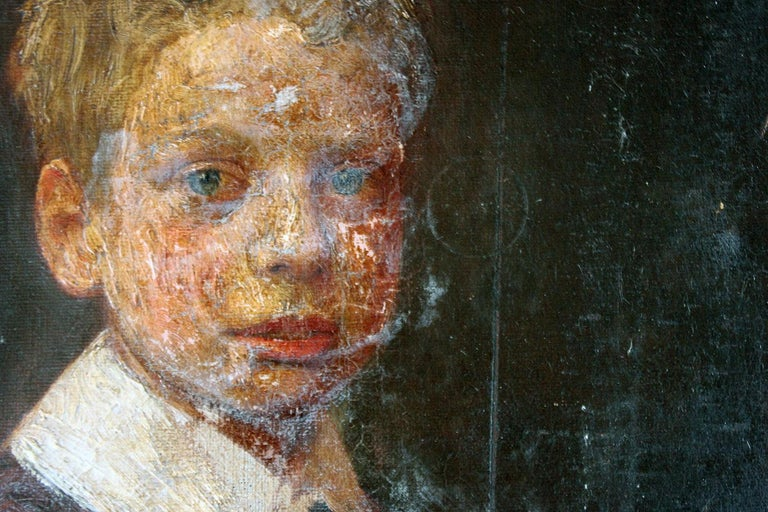 Early 1900s English School Oil on Canvas Portrait of Ronald C. Pilsbury by Harry C. Pilsbury For Sale
