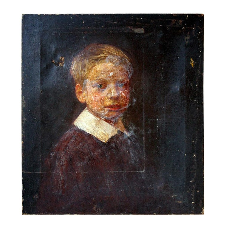 English School Oil on Canvas Portrait of Ronald C. Pilsbury by Harry C. Pilsbury For Sale