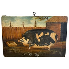 English School Style Painting of a Prize Pig, 'A Fat Pig'