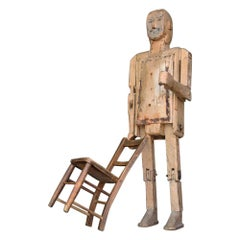 English Scratch Built Life-Size Robot Folk Art Man