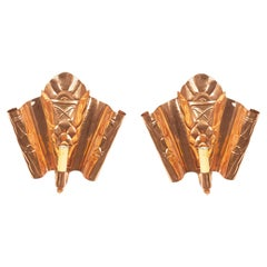 English Secessionist Copper Wall Sconces
