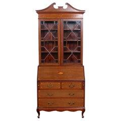 English Secretaire Bureau Bookcase Astragal Glazed Mahogany Library Cabinet