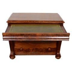 English Secretaire Chest of Drawers Writing Cabinet Flamed Mahogany 19th Century