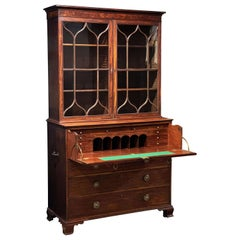 English Secretary Bureau Bookcase of Mahogany from the Georgian Era