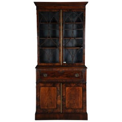 English Secretary, Cabinet with Mahogany Glass Top, circa 1850, Victorian