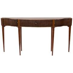 English Serpentine Tambour Console Table