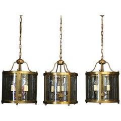 English Set of 3 Brass Convex Hall Lanterns