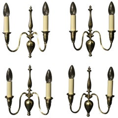 English Set of 4 Brass Twin Arm Antique Wall Lights