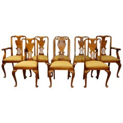English Set of 8 Edwardian Queen Anne Style Walnut Dining Chairs circa 1910