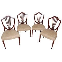 English Set of Four Georgian Hepplewhite Period Mahogany Shieldback Side Chairs