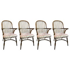 English Set of Four Windsor Oak Chairs, 20th Century