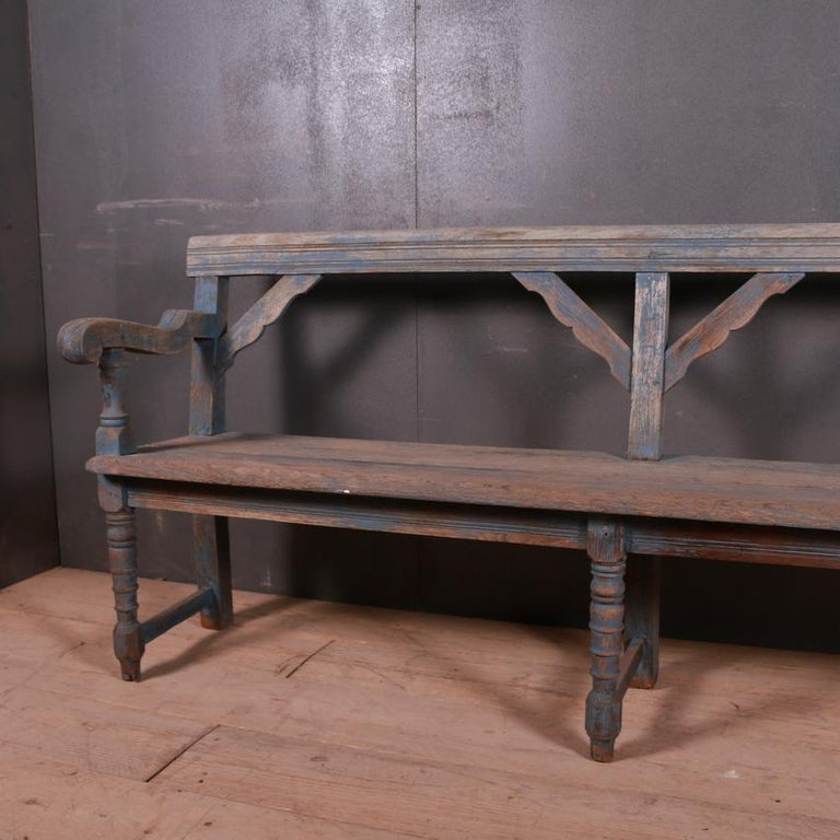 Small 19th century bleached and painted oak bench, 1860.
