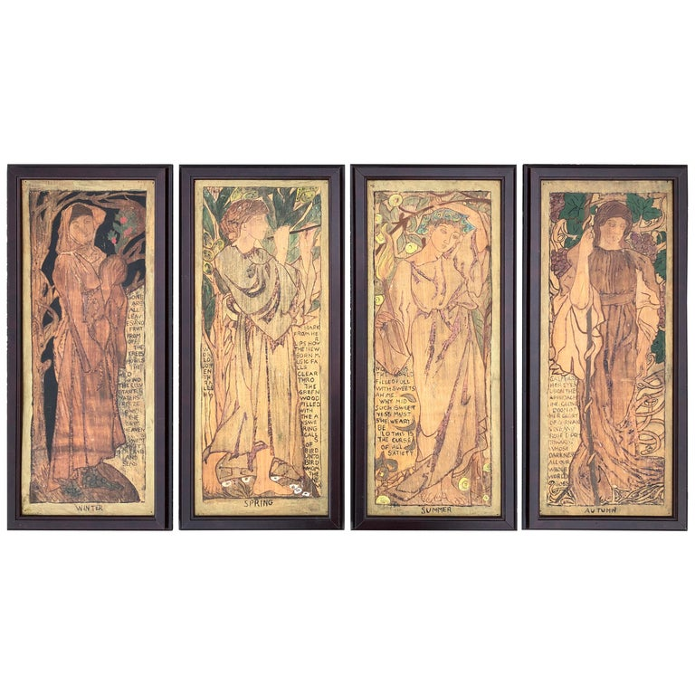 """English Shakespearean Handcrafted """"Four Seasons"""" Arts & Crafts Panel Set Four For Sale"""
