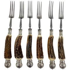 English Sheffield Antler and Silver Three-Tined Dining Forks, Boxed Set of Six