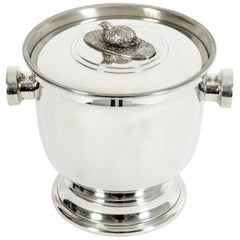 English Sheffield Barware Silver Plated Covered Ice Bucket