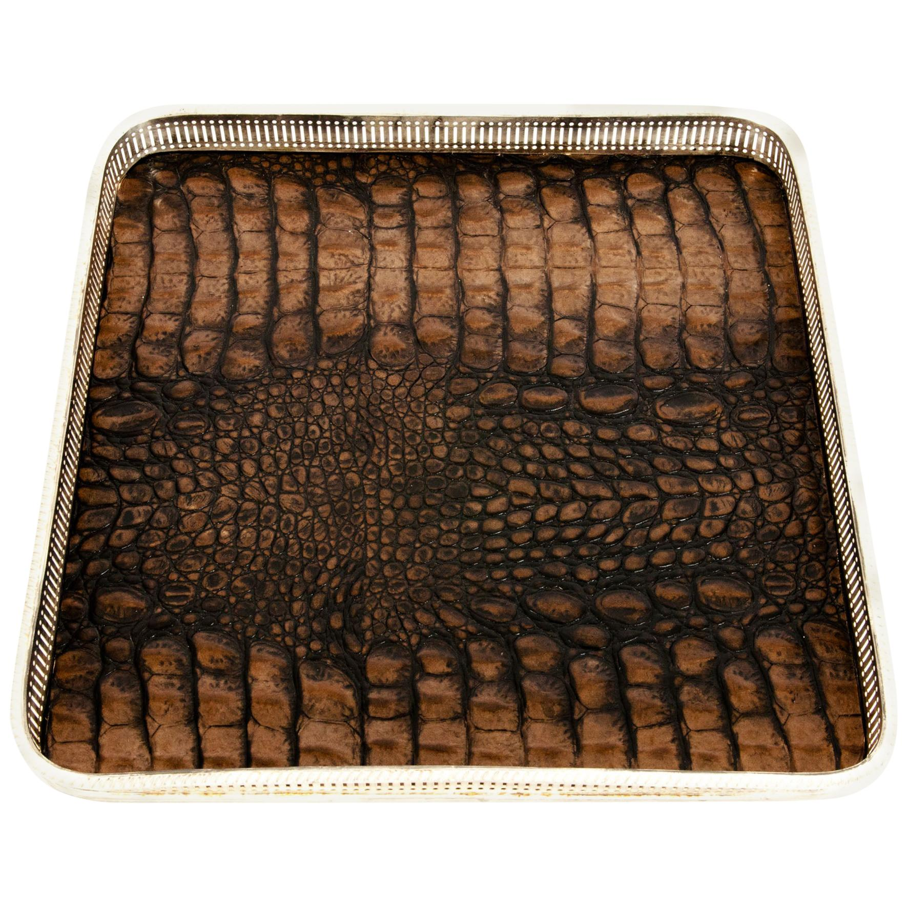 English Sheffield Plated Crocodile Interior Barware Gallery Tray