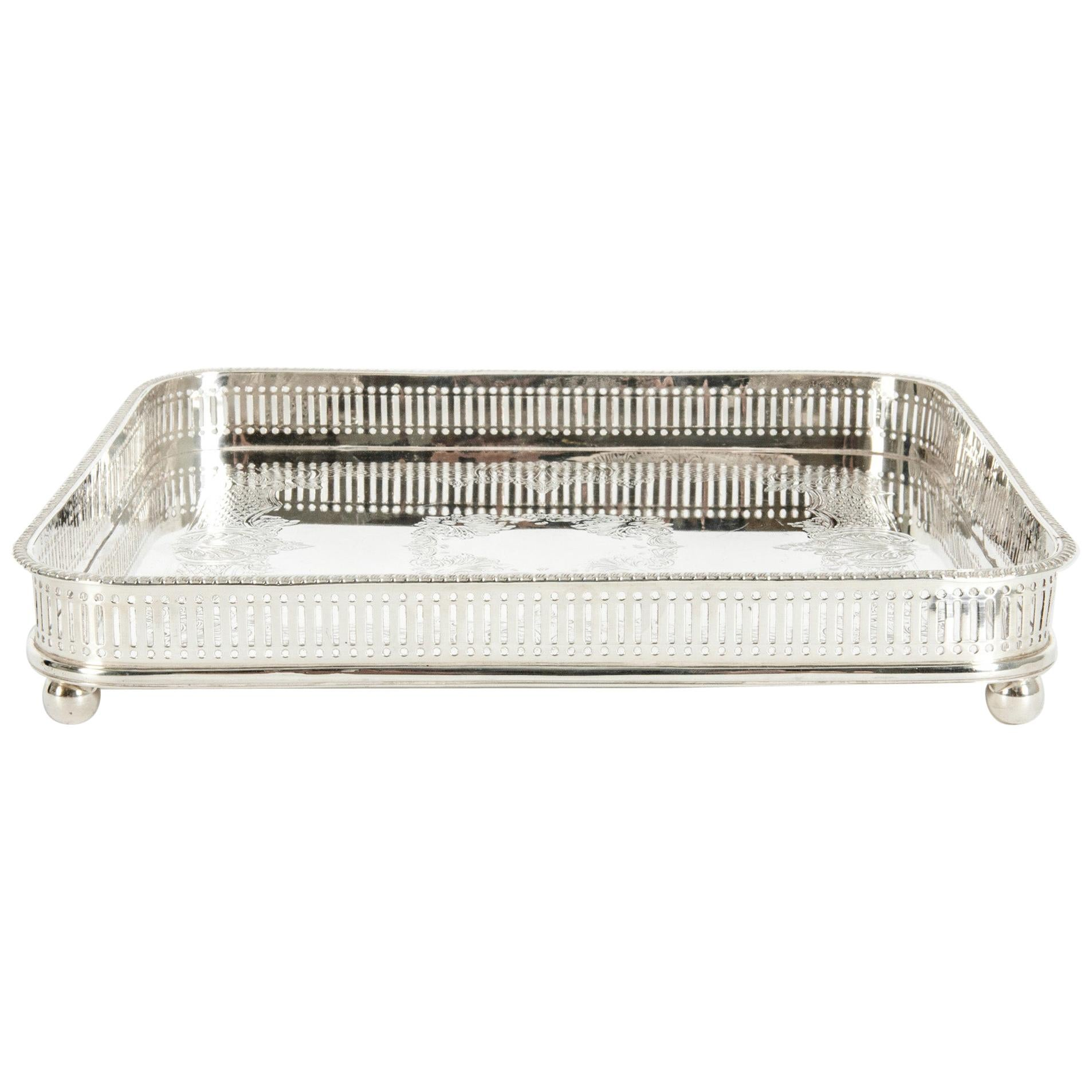 English Sheffield Plated Footed Barware Gallery Tray