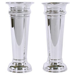 English Sheffield Silver Plated Pair of Vases