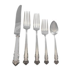 English Shell by Lunt Sterling Silver Flatware Set for 12 Service 63 Pcs Dinner