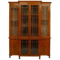 English Sheraton 19th Century Satinwood Breakfront Cabinet