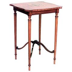 English Sheraton Style '19th Century' Shaped Square Satinwood End Table