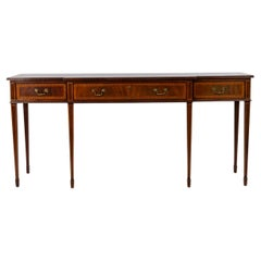 English Sheraton Style Mahogany and Satinwood Inlaid Console Table