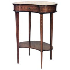 English Sheraton Style Satinwood and Inlaid Kidney Shaped End Table