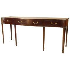 English Sheraton Mahogany Serpentine Console Table
