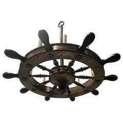 English Ship Wheel Chandelier