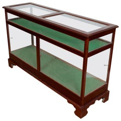 English Shop Display Cabinet Glazed Mahogany 19th Century Glass
