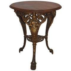 English Side Table with Iron Base, circa 1895