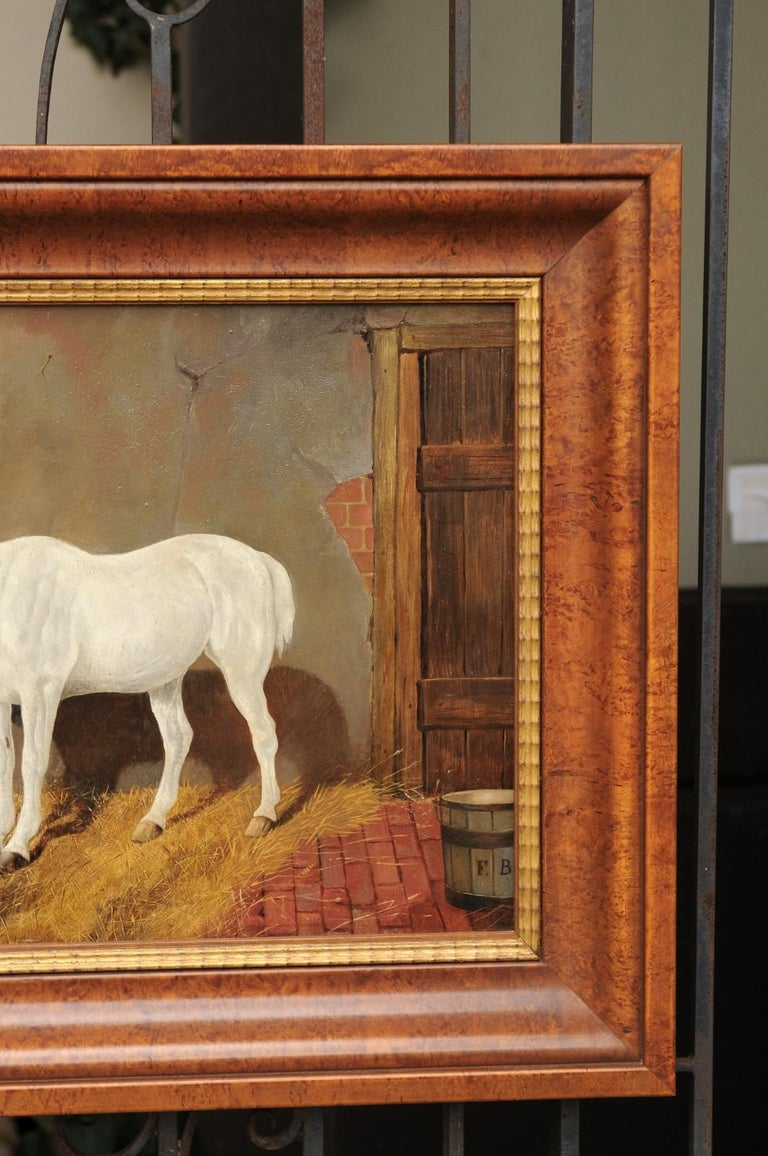 19th Century English Signed Framed Oil Barn Scene with White Horse and Hound Dogs, circa 1870 For Sale