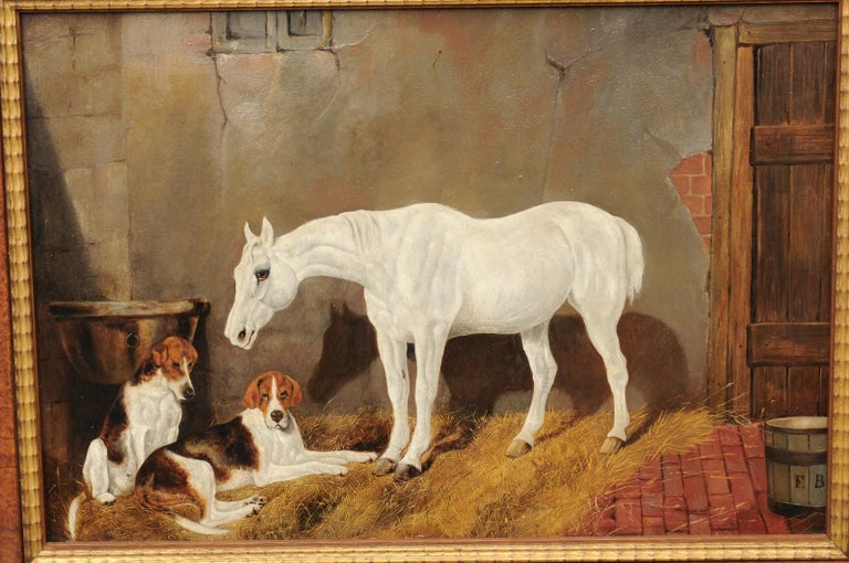 Paint English Signed Framed Oil Barn Scene with White Horse and Hound Dogs, circa 1870 For Sale