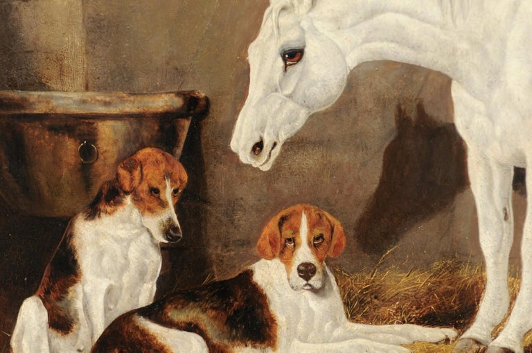 English Signed Framed Oil Barn Scene with White Horse and Hound Dogs, circa 1870 For Sale 2