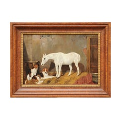 English Signed Framed Oil Barn Scene with White Horse and Hound Dogs, circa 1870
