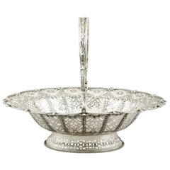 English Silver Cake Basket Antique Victorian